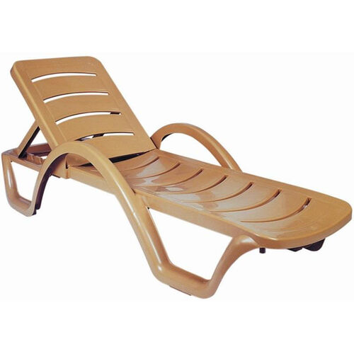 Our Sunrise Resin Pool Chaise Lounge with Arms and Hidden Wheels - Teak Brown is on sale now.