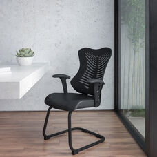 Designer Black Mesh Sled Base Side Reception Chair with Adjustable Arms