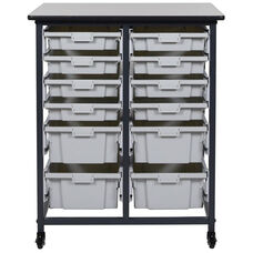 Mobile Double Row Storage Unit with 8 Small and 4 Large Gray Bins - Black - 30.5