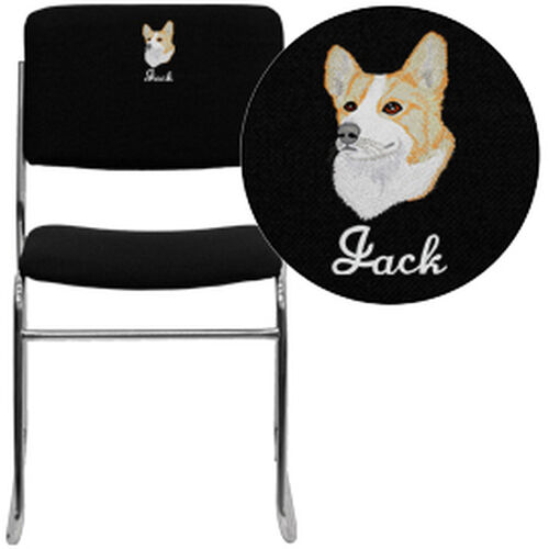 Our Embroidered HERCULES Series 1000 lb. Capacity Black Fabric High Density Stacking Chair with Chrome Sled Base is on sale now.