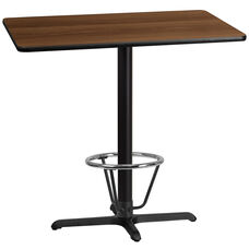 30'' x 42'' Rectangular Walnut Laminate Table Top with 23.5'' x 29.5'' Bar Height Table Base and Foot Ring