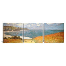 Path Through The Corn At Pourville by Claude Monet Triptych Gallery Wrapped Canvas Artwork - 60