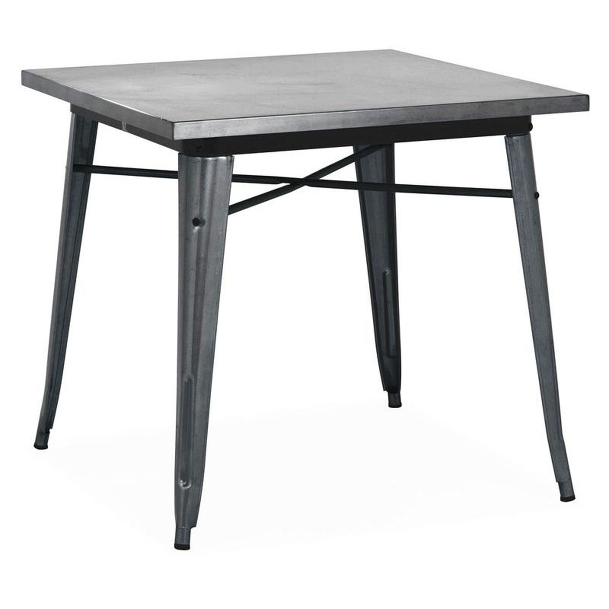 Dreux Dark Gunmetal Steel Frame Square Top Dining Table 30 H