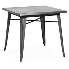 Dreux Dark Gunmetal Steel Frame Square Top Dining Table - 30