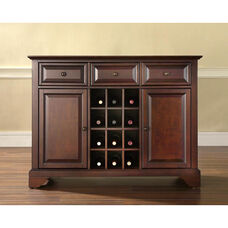 Buffet Server and Sideboard Cabinet with Wine Storage with LaFayette Style Feet - Vintage Mahogany Finish