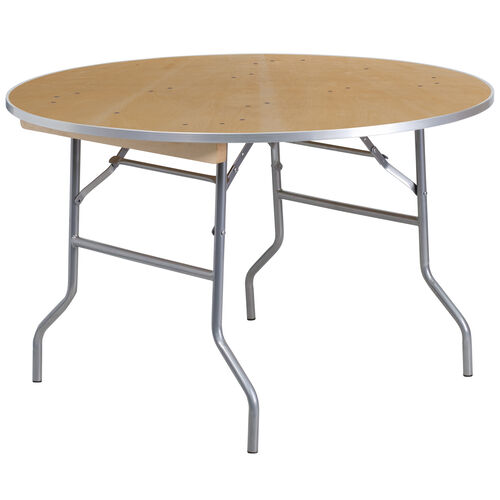 Our 4-Foot Round HEAVY DUTY Birchwood Folding Banquet Table with METAL Edges is on sale now.