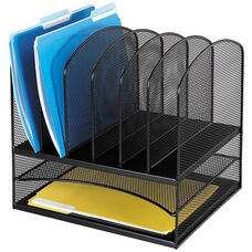 Onyx™ Two Horizontal and Six Upright Sections Mesh Desk Organizer - Black