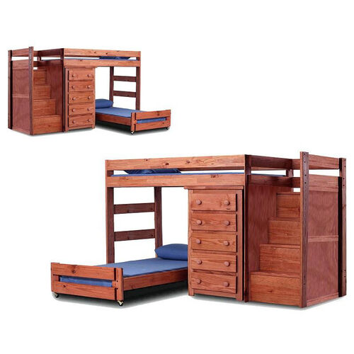 Rustic Style Solid Pine Staircase Quarters Bed with 5 Drawer Chest - Twin Over Twin - Mahogany Stain
