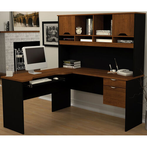 Our Innova Reversal L-Shaped Computer Workstation with Keyboard Shelf and Wire Management - Tuscany Brown and Black is on sale now.