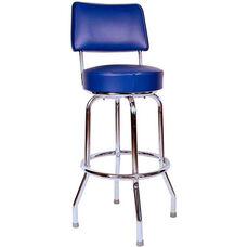 Retro Style Chrome Frame 24''H Swivel Bar Stool with Backrest and Padded Seat - Blue Vinyl