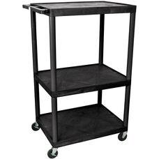 3 Large Shelf High Open Mobile A/V Utility Cart - Black - 32