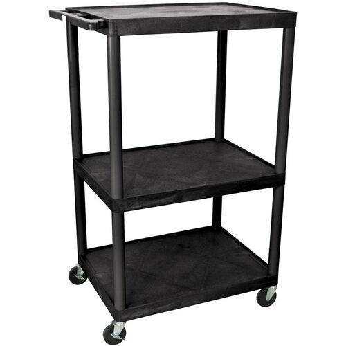 Our 3 Large Shelf High Open Mobile A/V Utility Cart - Black - 32
