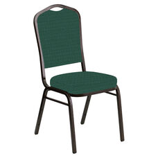 Embroidered Crown Back Banquet Chair in Jewel Emerald Fabric - Gold Vein Frame