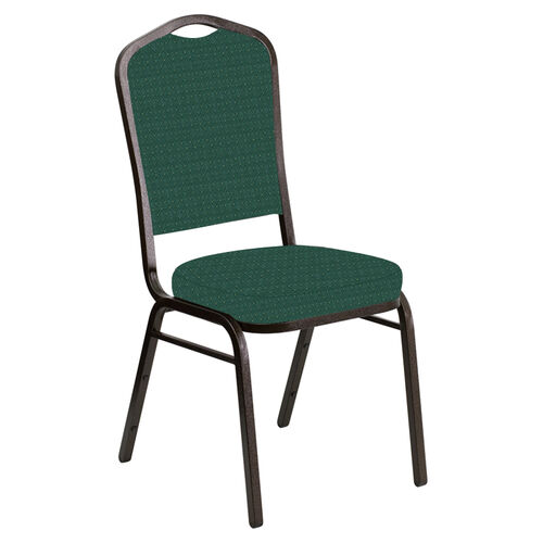 Our Embroidered Crown Back Banquet Chair in Jewel Emerald Fabric - Gold Vein Frame is on sale now.