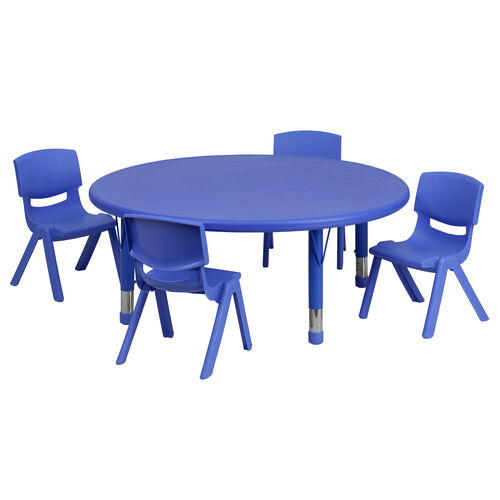 """45"""" Round Plastic Height Adjustable Activity Table Set with 4 Chairs"""