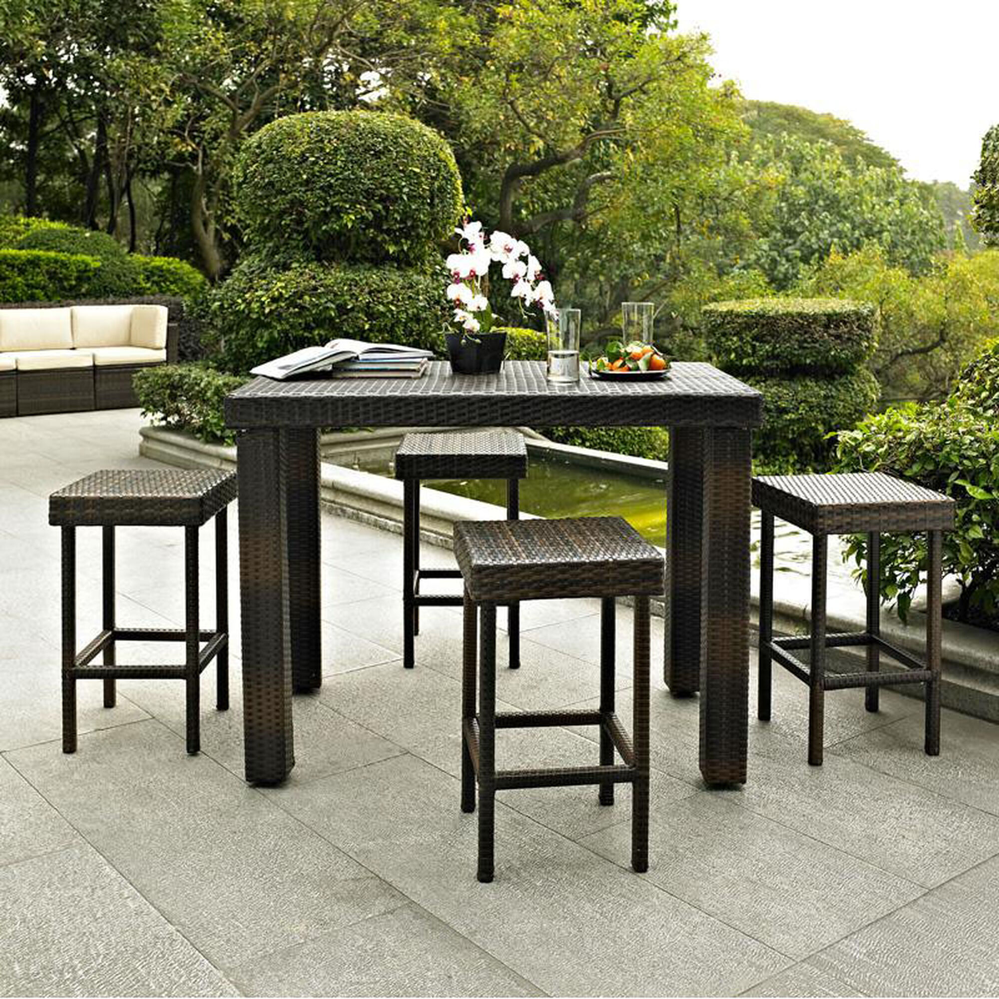 Crosley Palm Harbor 5 Piece Outdoor Wicker High Dining Set Table