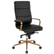 High Back Black LeatherSoft Executive Swivel Office Chair with Gold Frame, Synchro-Tilt Mechanism and Arms