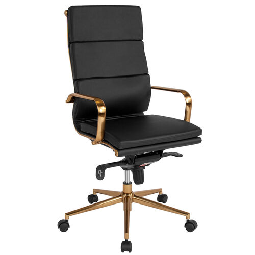 Our High Back Black LeatherSoft Executive Swivel Office Chair with Gold Frame, Synchro-Tilt Mechanism and Arms is on sale now.