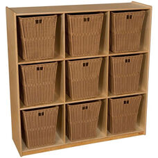 Wooden Cubby Storage Unit with 9 Large Plastic Wicker Baskets - Wood - 48