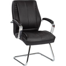 Pro-Line II Deluxe Mid Back Executive Bonded Leather Visitors Chair - Black