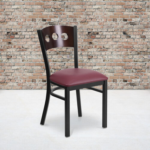 Our Black Decorative 3 Circle Back Metal Restaurant Chair with Walnut Wood Back & Burgundy Vinyl Seat is on sale now.