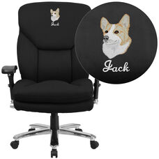 Embroidered HERCULES Series 24/7 Intensive Use Big & Tall 400 lb. Rated Black Fabric Executive Swivel Chair with Lumbar Knob