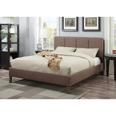 Rosanna Padded Linen Bed with Vertical Tufted Headboard - Queen - Light Brown