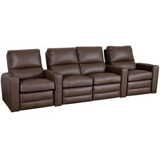 Manor Four Seater Home Theater - Straight Arm in Top Grain Leather