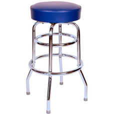 50's Retro Backless 30''H Swivel Bar Stool with Double Ring Chrome Frame and Padded Seat - Blue Vinyl