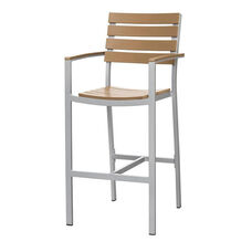 Vienna Outdoor Bar Arm Chair with Teak Durawood Slat Back and Seat - Silver Finish