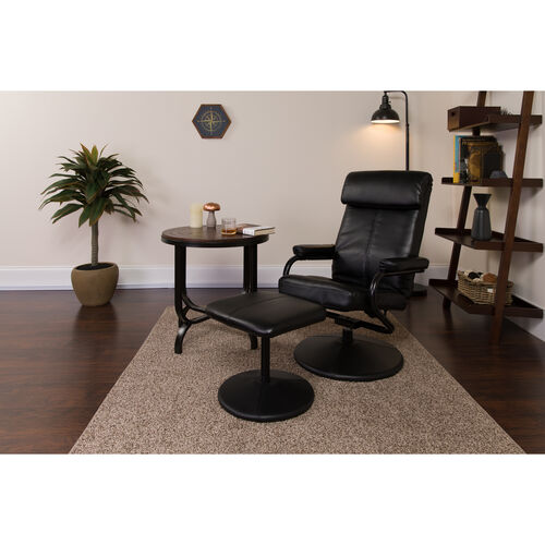 Our Contemporary Leather Recliner and Ottoman with Leather Wrapped Base is on sale now.