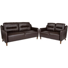 Newton Hill Upholstered Bustle Back Loveseat and Sofa Set in Brown Leather