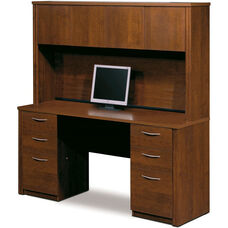 Embassy Credenza and Hutch Set with Utility Drawers and Filing Drawers - Tuscany Brown