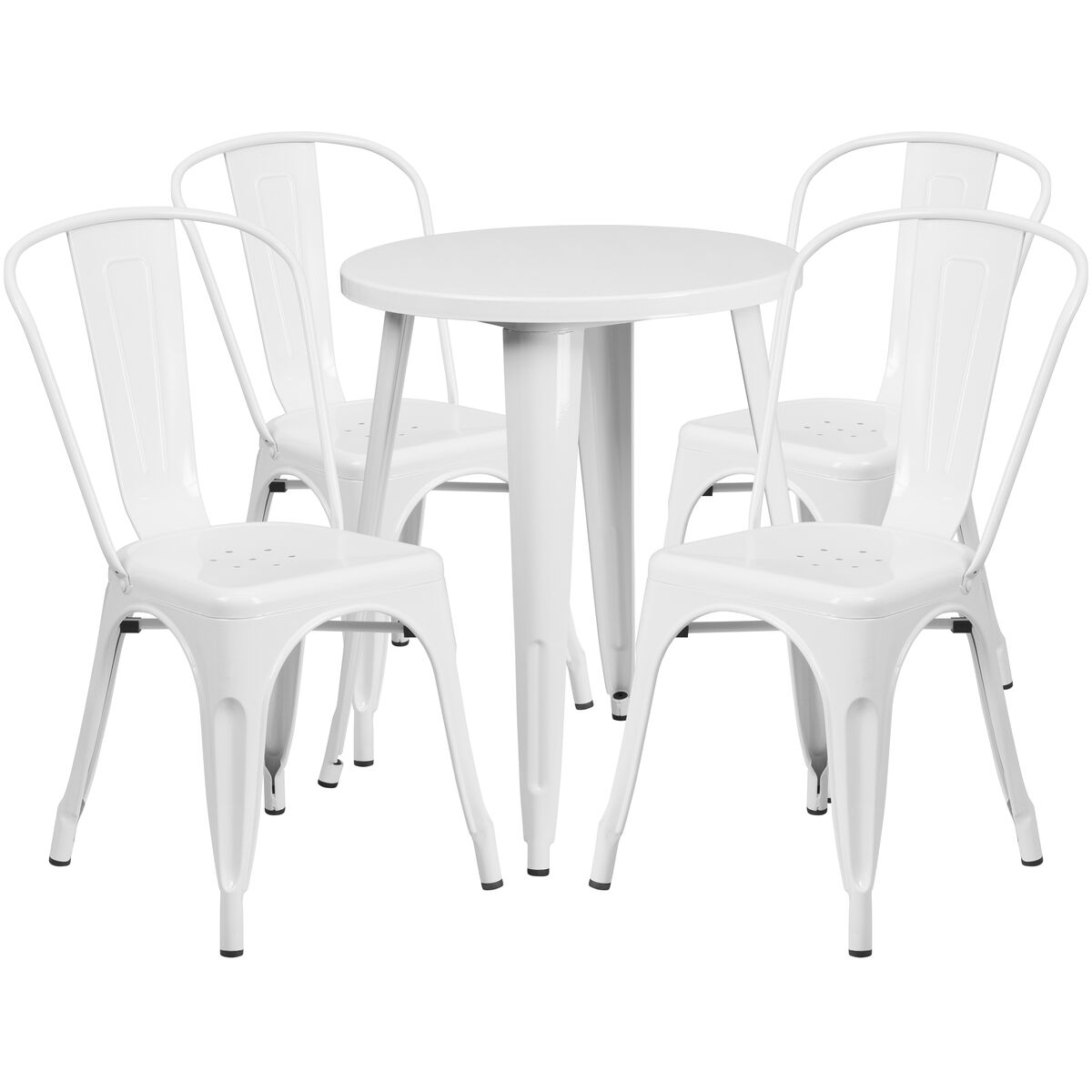Flash Furniture 24 39 39 Round White Metal Indoor Outdoor Table Set With 4 Cafe Chairs Ch 51080th 4