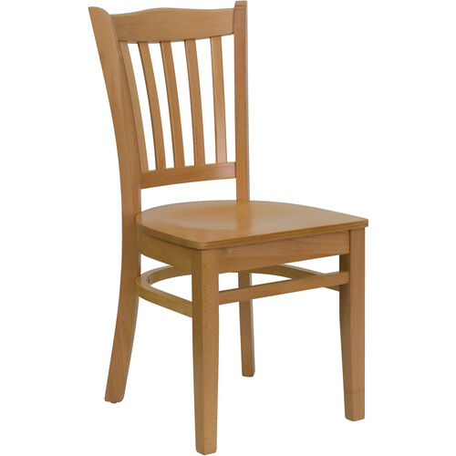 Our Natural Wood Finished Vertical Slat Back Wooden Restaurant Chair is on sale now.