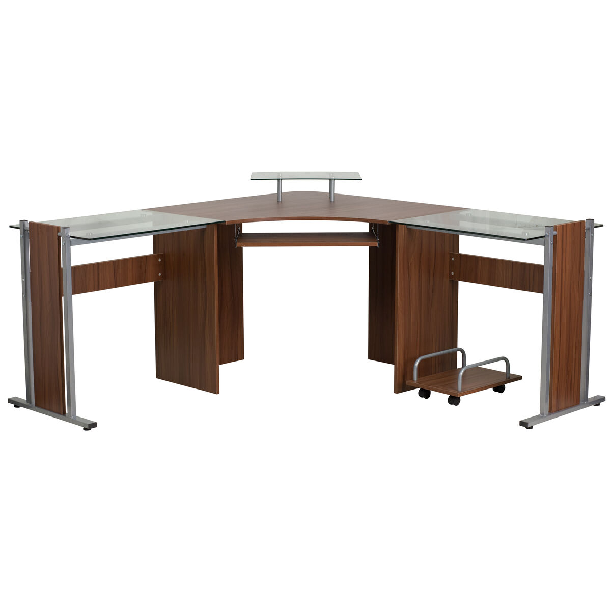 Our Teakwood Laminate Corner Desk With Pull Out Keyboard Tray And Cpu Cart Is On