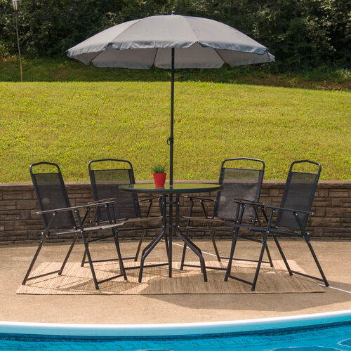 Our Nantucket 6 Piece Black Patio Garden Set with Table, Umbrella and 4 Folding Chairs is on sale now.