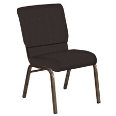 Embroidered 18.5''W Church Chair in Mainframe Mocha Fabric - Gold Vein Frame
