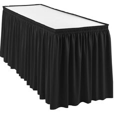 Wyndham 17 Foot Shirred Pleat Table Skirt with SnugTight™ Clips - Black