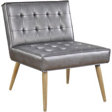 Ave Six Amity Tufted Accent Chair with Solid Wood Legs - Sizzle Pewter
