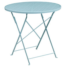 "Commercial Grade 30"" Round Sky Blue Indoor-Outdoor Steel Folding Patio Table"