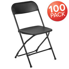 HERCULES Series 100 Pack 650 lb. Capacity Premium Black Plastic Folding Chair