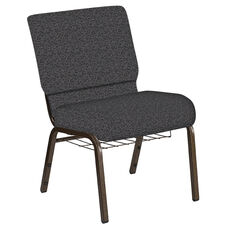 Embroidered 21''W Church Chair in Ribbons Gray Fabric with Book Rack - Gold Vein Frame