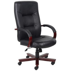 High Back Executive Italian Leather Office Chair with Padded Arms - Black