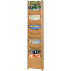 Easy to Mount Twelve Scoop Front Pocket Wood Magazine Display - Medium Oak
