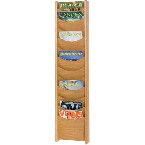 Our Easy to Mount Twelve Scoop Front Pocket Wood Magazine Display - Medium Oak is on sale now.