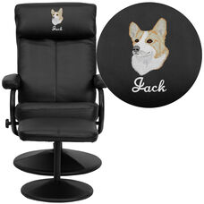 Embroidered Contemporary Multi-Position Headrest Recliner and Ottoman with Wrapped Base in Black Leather