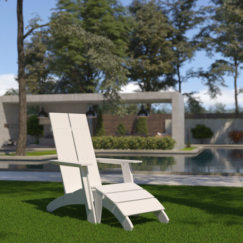 Sawyer Modern All-Weather Poly Resin Wood Adirondack Chair with Foot Restin White
