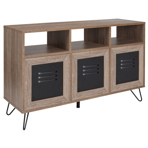 """Our Woodridge Collection 44""""W 3 Shelf Storage Console/Cabinet with Metal Doors in Rustic Wood Grain Finish is on sale now."""