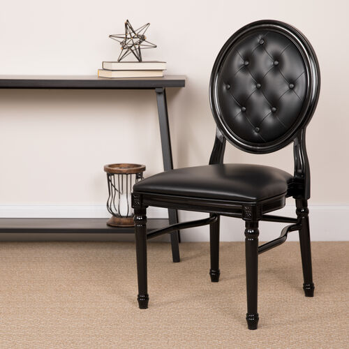 Our HERCULES Series 900 lb. Capacity King Louis Chair with Tufted Back, Black Vinyl Seat and Black Frame is on sale now.
